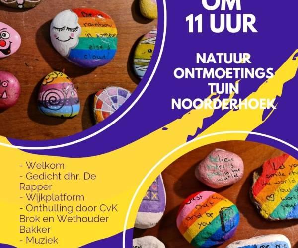 Opening Happy Stones Gedenkmuur in de Noorderhoek