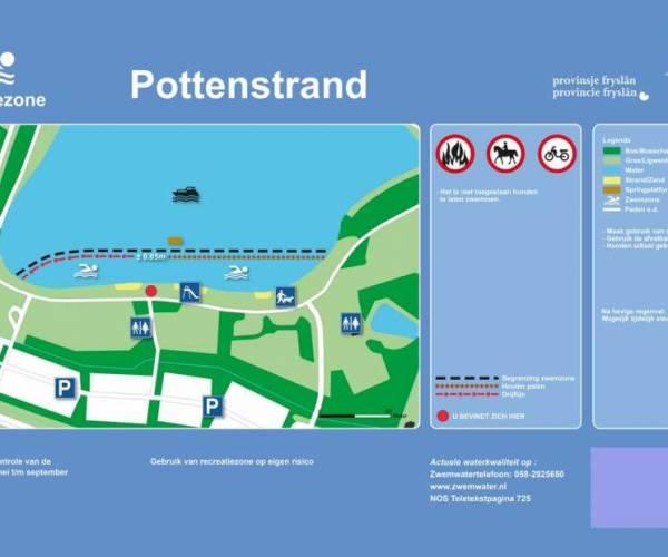 Waarschuwing blauwalg Pottenstrand