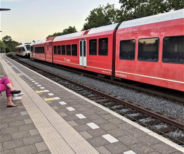 Twee treinen met de neuzen tegen elkaar, op hetzelfde spoor van Station Noord Sneek