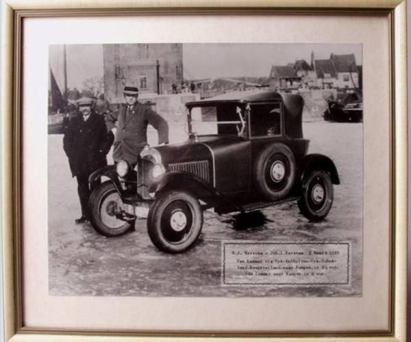 Met auto over Zuiderzee in strenge winter van 1929